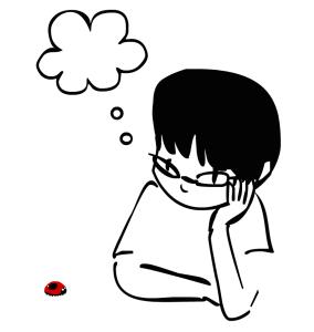 desenho preto e branco, fernanda estilo cartun, olhando uma joaninha vermelha. Da cabeça sai um balao em forma de nuvem representando um pensamento