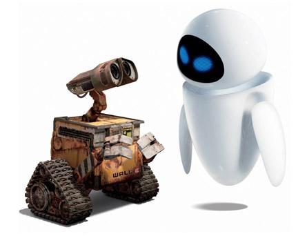 Wall-e e EVE dois robos do filme da Pixar