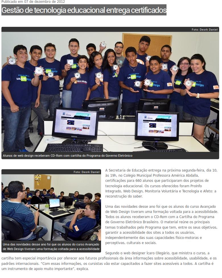 imagem da matéria Gestão de tecnologia educacional entrega certificados