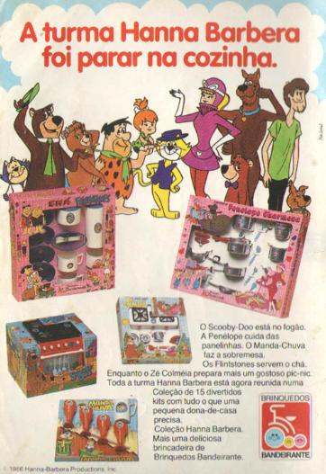 Propaganda de panelinhas da Turma da Hanna Barbera