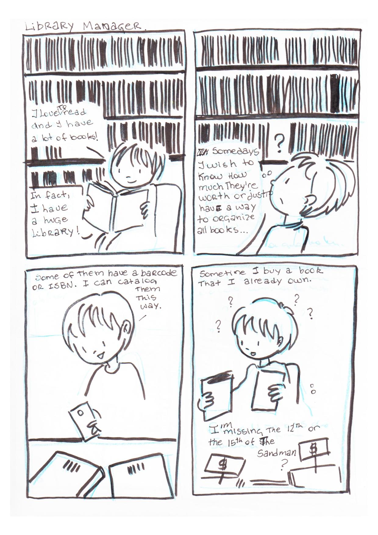 storyboard1a - menian em duvida como organizar seus livros. Ela encontra titulos repetidos.