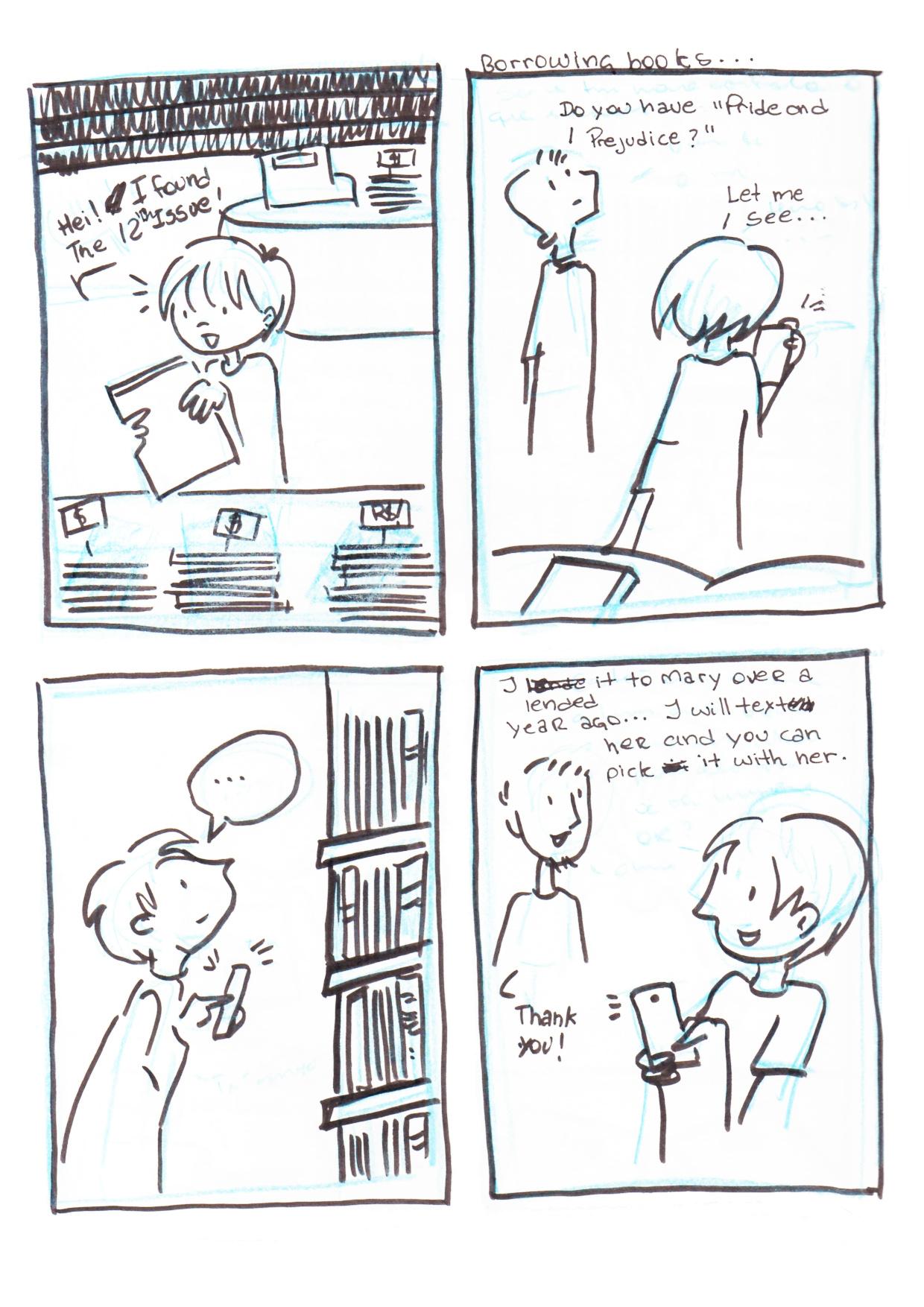 storyboard2a -Menina organiza seus livros pelo aplicativo. Agora ela sabe que volumes faltam a uma coleção e com qual amigo estão seus livros emprestados.