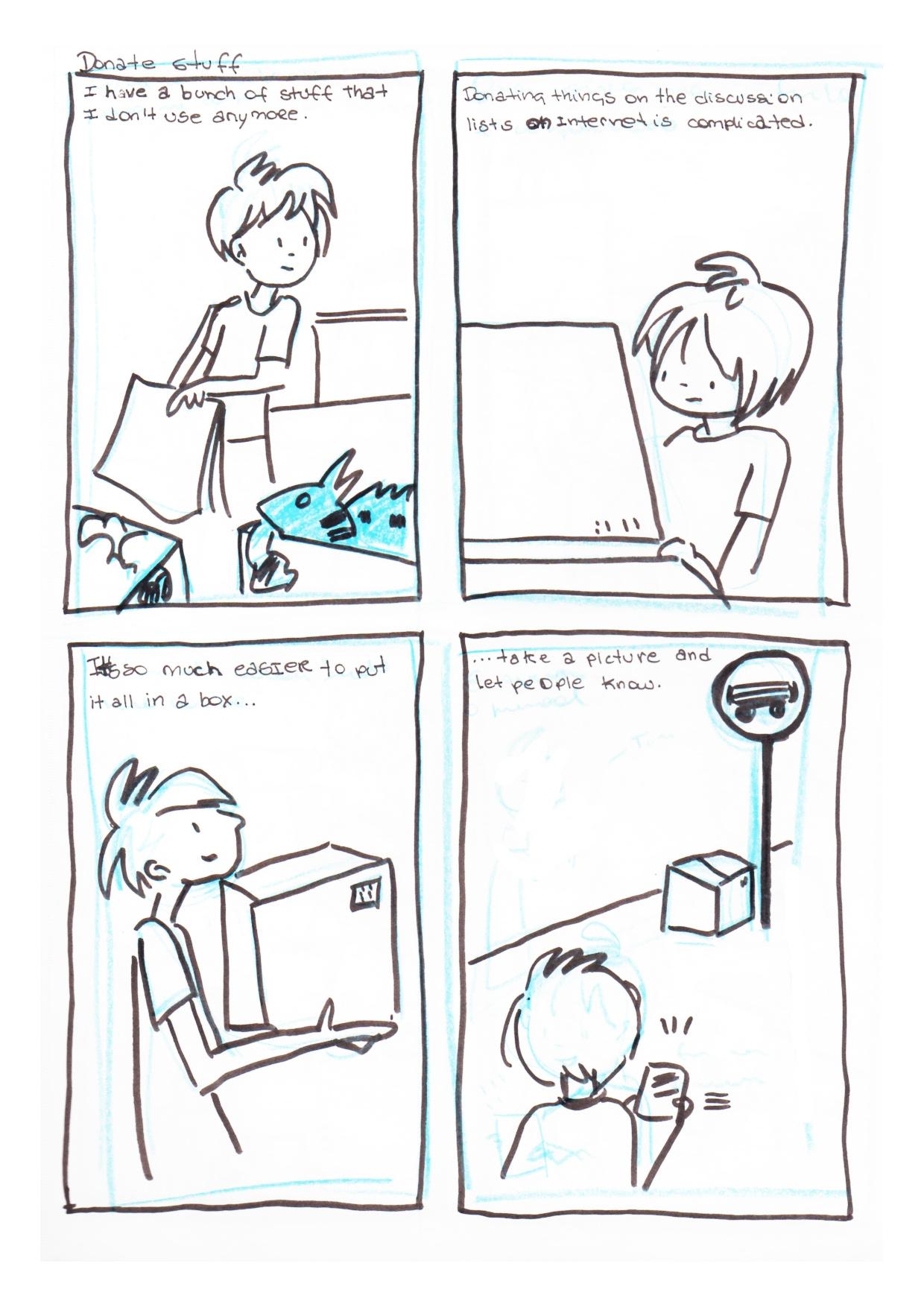 Storyboard2a - pessoa cheia de coisas nnao sabe para quem doar. Coloca tudo numa caixa e avisa as pessoas pelo app onde pegar