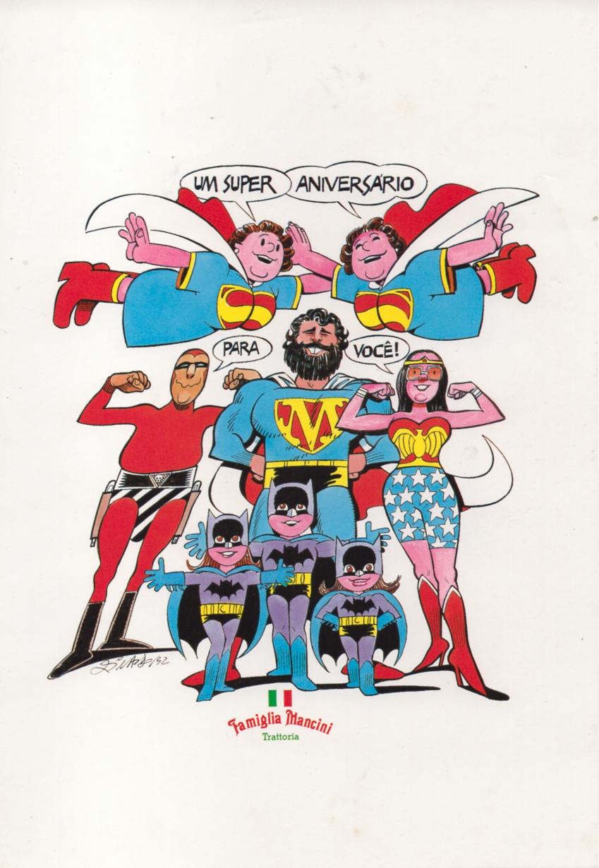 Um dos cartões - A familia reunida vestida de super-heróis